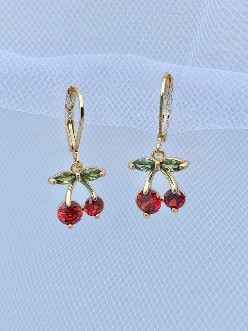 18K Gold Plated Cubic Zirconia Crystals Cherry Huggie Earrings or Necklace Gift Fruit Earrings Cherry Earrings Dainty Cherry Necklace