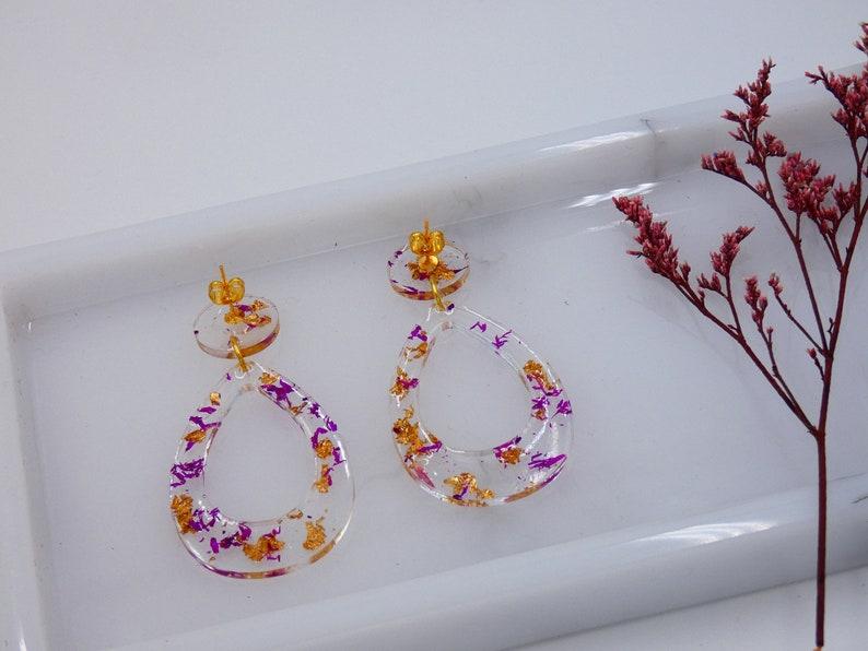 earrings with dry natural flowers bohemian earrings boho style geometric earrings casual earrings Resin earrings
