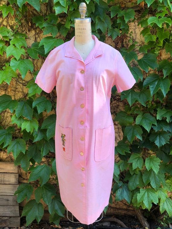 "1960's Kitsch Pink Kachina Shirt dress ""Arizona Tu"
