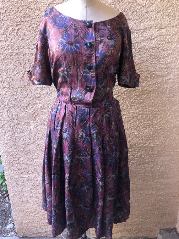 Charming Purple Floral Boatneck 1960's dress