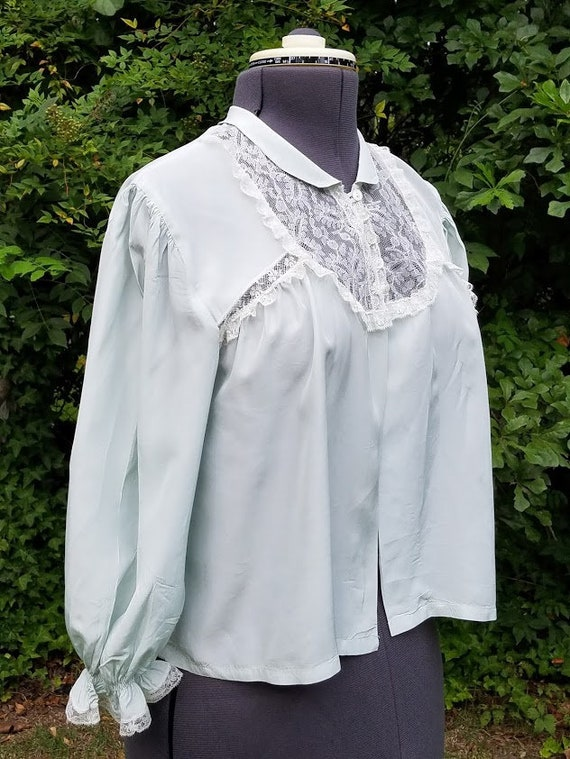 Vintage pale blue Textron silk and lace bed jacket