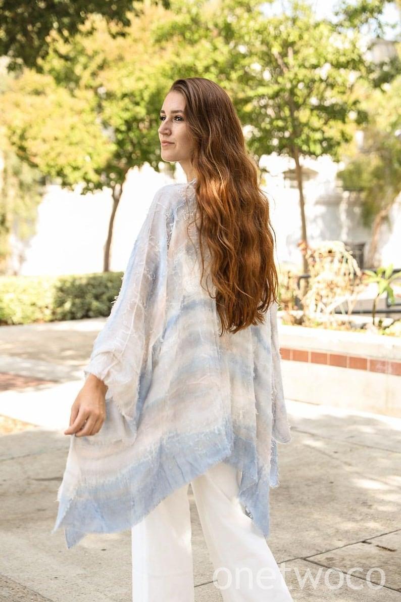 festival Bohemian Dip Dye Kimono Beach cover up Summer Dress Jacket Kimono