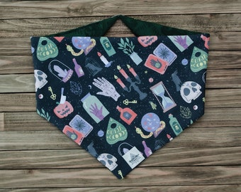 Toil and Trouble Reversible Halloween Pet Bandana   Tie On or Snap On Dog Bandana   Upcycled Fabric Bandana   Sustainable Cat Bandana