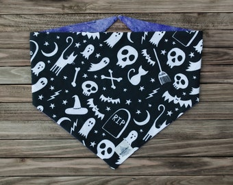 I Put a Spell on You Reversible Halloween Pet Bandana   Tie On or Snap On Dog Bandana   Upcycled Fabric Bandana   Sustainable Cat Bandana