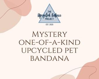 Mystery Upcycled Pet Bandana   Upcycled Fabric Mystery Pet Bandana   Mystery Cat Bandana   Mystery Dog Bandana   Custom Tie on or Snap On  