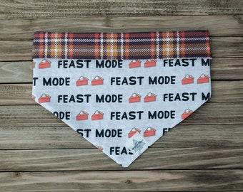 Feast Mode Reversible Thanksgiving Pet Bandana   Tie On or Snap On Dog Bandana   Upcycled Fabric Cat Bandana   Sustainable Fabric