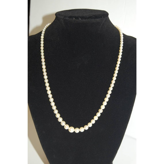 Vintage S 14K White Gold Clasp Cultured Pearl Neck