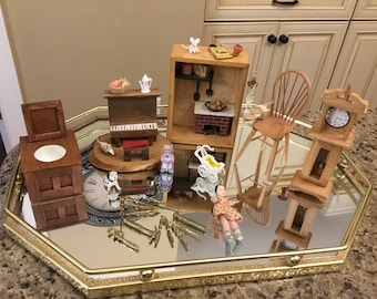 Antique and Vintage Miniature Doll House Furniture and Accessories