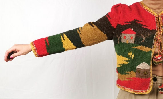 Hand Knitted Artsy Crafts work / Austrian  Cardig… - image 6