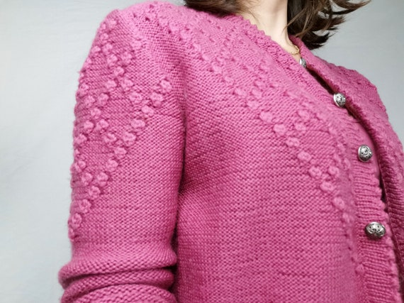 Hand Knitted Cardigan / XS-S / Color Berry / Austr