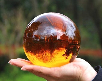 Amber sphere with transparent base 30/40/50/60/70/80/100mm