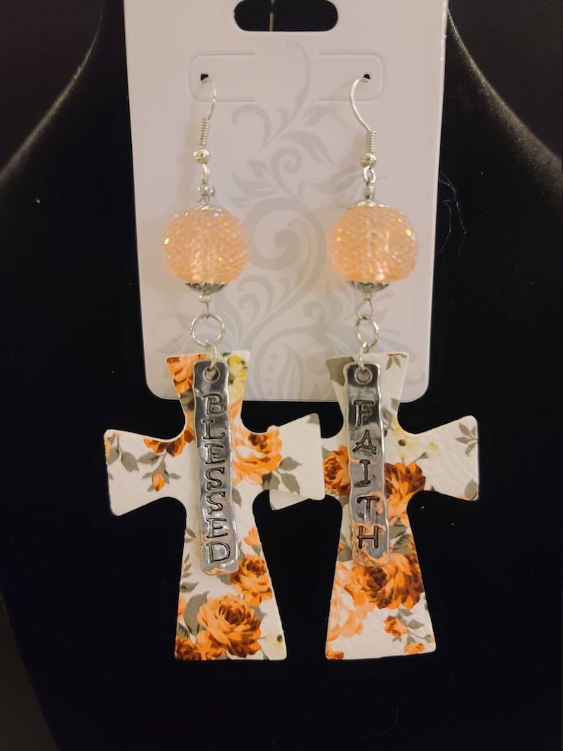 faux leather Blessed floral Peach Cross earrings Faith