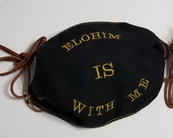 Elohim Is With Me glow in the dark embroidered face mask reversible cotton