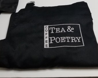 Coffee Tea and Poetry embroidered apron with pockets and adjustable straps