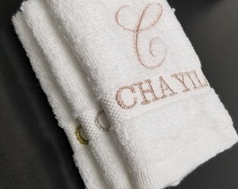 Chayil rose gold silver metallic embroidered towels Dobby border linen OEKO-TEX