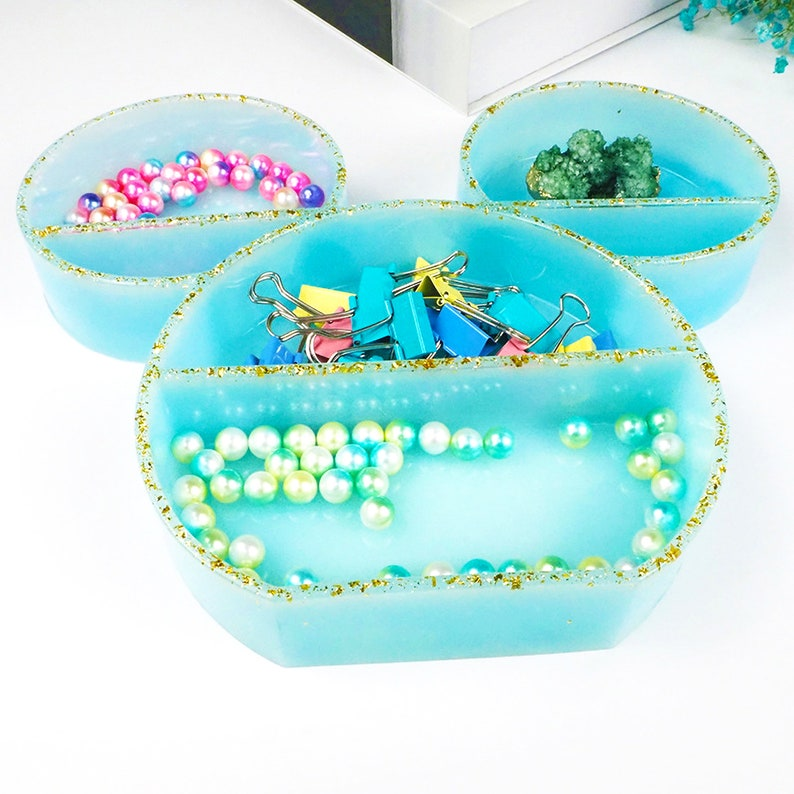 organizer casting crafts epoxy resin supplies container case silicone molds Mickey Mouse Head Jewelry Box Mold Resin jewelry display tray