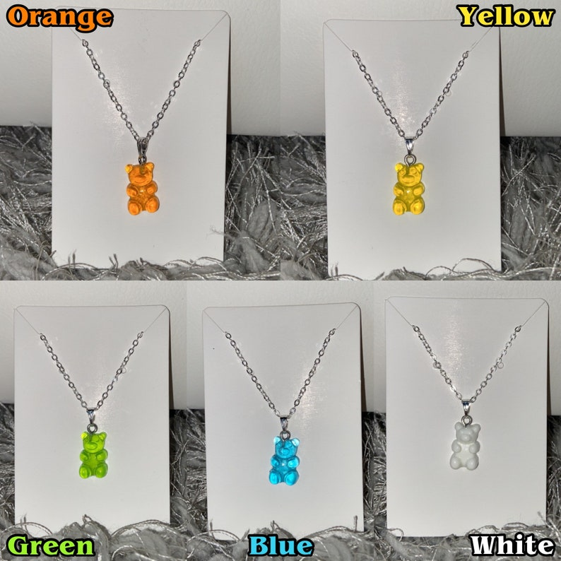 Rainbow Variety Coloured 18inch Silver Chain with clasp Gummy Bear Necklace