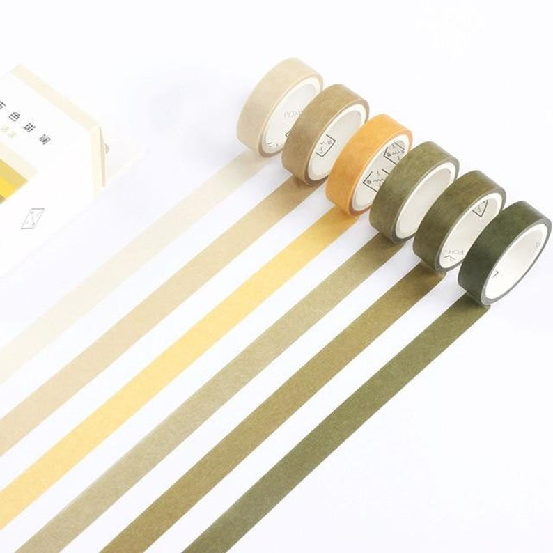 Basic Color Scheme Washi Tape \u2013 Set of 6  Greens and Yellows