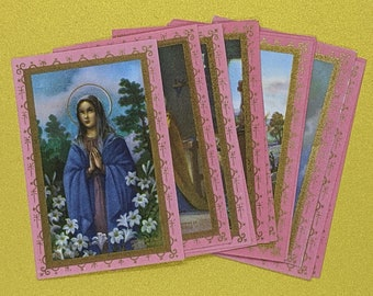 12pcs- Vintage Catholic Holy Cards- Printed in Italy- Pink and Gold Borders- Assorted Designs