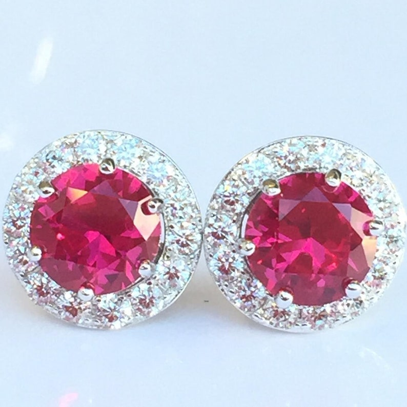 Ruby Stud Earrings: High Quality Created Ruby 12mm Removable image 0