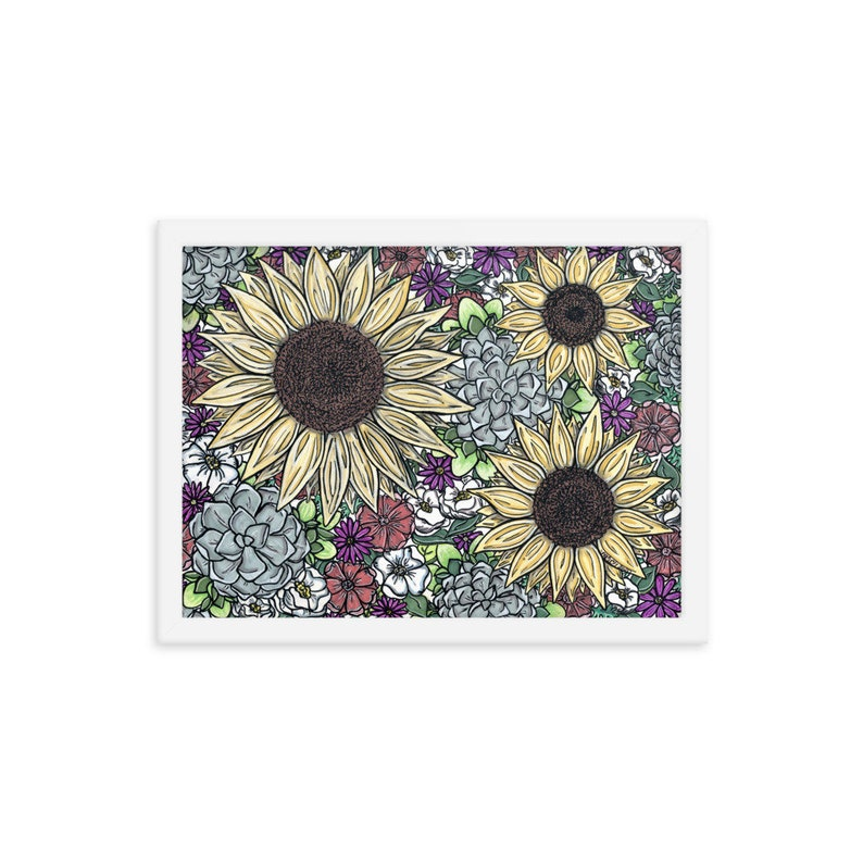 Sunflowers and Succulents White Framed poster