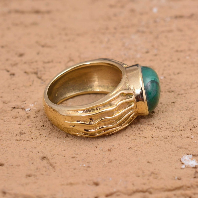 Brass Gemstone Ring Pure Handmade Brass Ring Green Malachite Rings Her And Him Rings For Mens And Women Valentine Gift Ring
