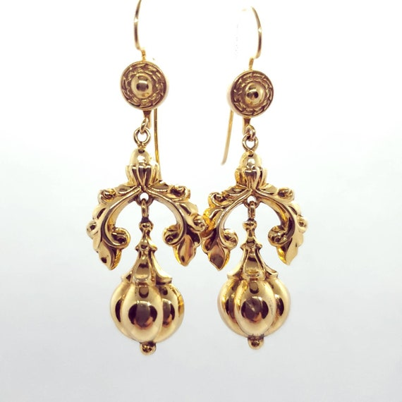14k Solid Yellow Gold Chandelier Etruscan Revival