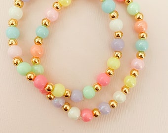 Girls Pink Mint Green Pearl Chunky Custom Made to Match Necklace Bracelet Bubblegum Jewelry Beaded Custom Pageant Boutique Gumball Pink Blue