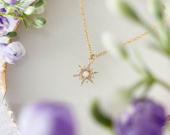 Gold North Star Opal Necklace / Gold Filled /Opal Necklace /Star Necklace /Dainty Necklace /Gold Necklace /Gift for her / Birthday Gift