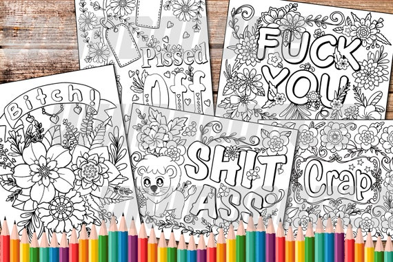 Swear Word Coloring Page Digital Coloring Pages Clip Art Etsy