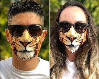 3D print face mask Washable Reusable Waterproof Lion cloth cover big cat safari Leo Breathable fast free shipping in USA