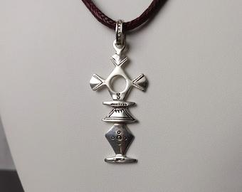 Croix du sud Vintage Ethnic Jewelry Collier touareg argent Collectible. for her Vintage Necklace ebony Touareg Southern Cross