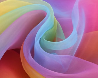 "Rainbow Organza Fabric Fantasia 60"" Wedding Drape Fancy Dress Voile Decoration"