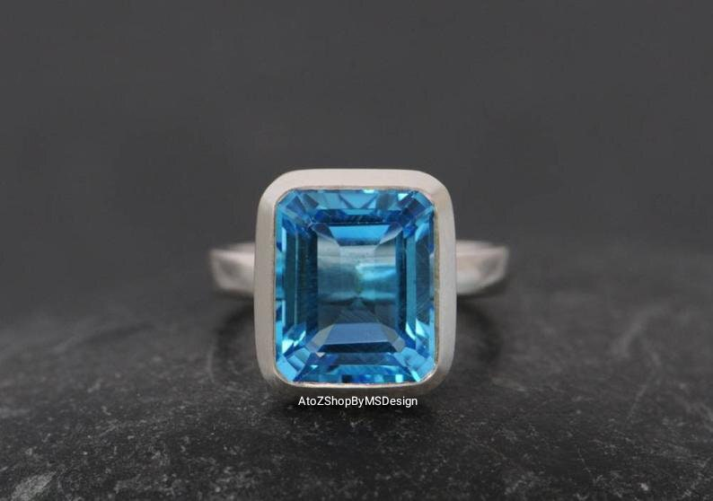 Gift For both Octagon Shape Ring Solitaire Ring Birthday Gift Ring Sterling Silver Ring Gorgeous Swiss Blue Topaz Ring