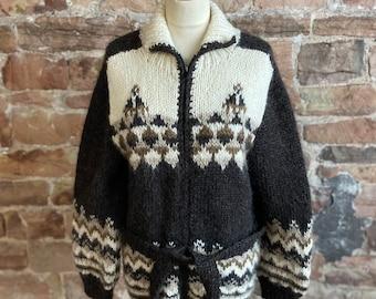 A 100% Pure New Wool Hand Knitted Chunky Icelandic/Fair Isle Zipper/Cardigan FREE UK POST