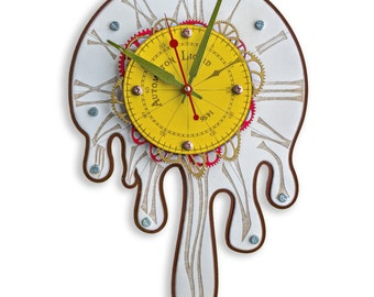 Automaton 1456 Melting Wall Clock Large Surrealism Salvador Dali style design, Home Decor, Kitchen, Living Room and Office Personalized Gift