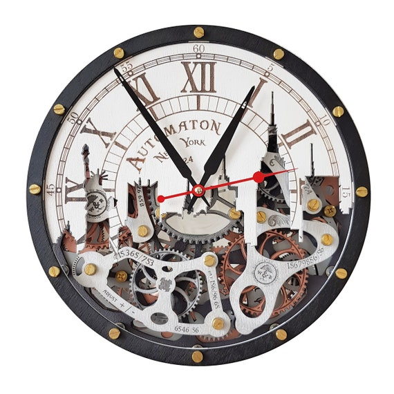 Automaton New York city skyline moving Gears wall clock, Industrial Design, Personalized Decorative Art, Custom made personalized gift