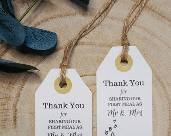 18 /'Thank you for sharing our first meal/' Wedding//favour tags 3 colours