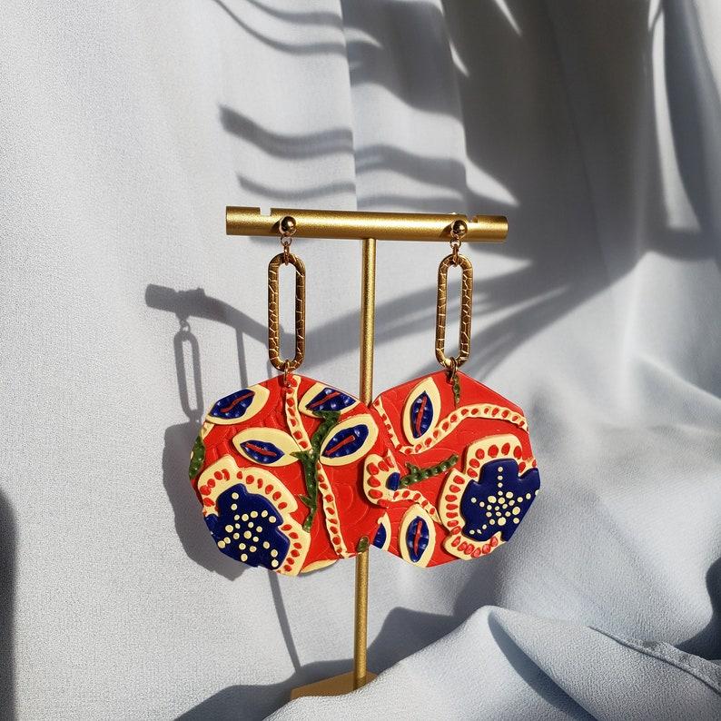 Batik Earrings Hypoallergenic Handmade Polymer Clay Earrings Spring Statement Earring Stainless Steel