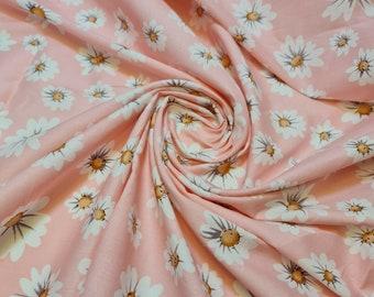 "100% Cotton Poplin Daisy Flower Print Fabric Dress Craft Soft Fabric 58"" Meter (Pink Base)"