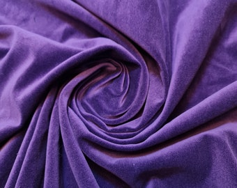 "100% Cotton Velvet Fabric Costume Dress Craft Upholstery Material 44"" (Purple)"