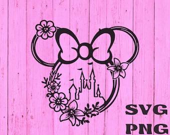 Disney castle svg Minnie Flower wreath svg    Floral Ears Svg Magic kingdom   Disneyland  shirt svg