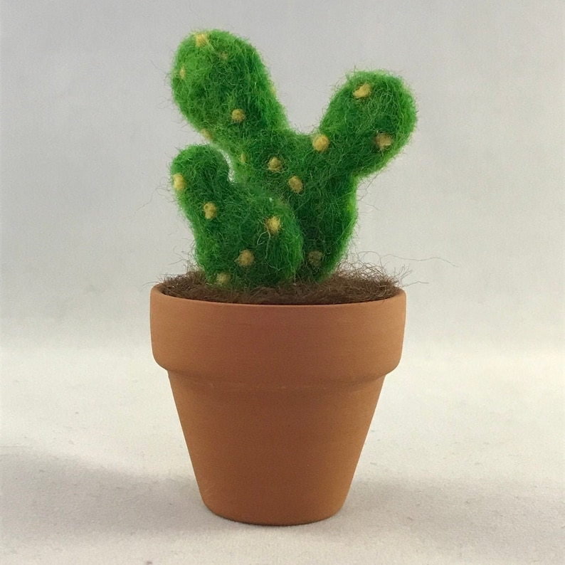 Small needle felted bunny cactus in terracotta pot
