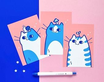 A6 postcard set - ID Photo Cats - cute cat art print set - pink and blue cat illustration - original wall art and decor - cat postcard set