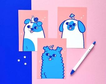 A6 postcard set - ID Photo Dogs - cute dog art print set - pink and blue dog illustration - original wall art and decor - dog postcard set