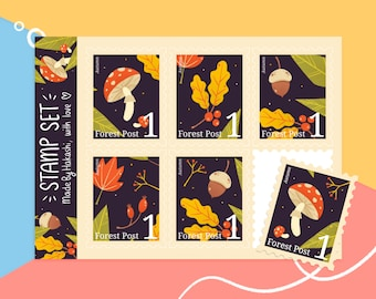 Sticker sheet Autumn Stamps - fall themed postal stamp stickers - mushrooms and leaves - handmade journal stationery - bujo stickersheet