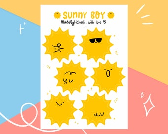 A6 sticker sheet Sunny Boy - cute sun stickers - weather planner stickers - holiday planning - journal stationery - bujo stickersheet