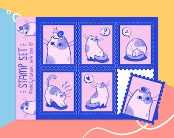 Sticker sheet Smol Cat - cat themed postal stamp stickers - pink and navy cute cat - handmade journal stationery - bujo stickersheet