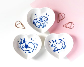 Hand painted porcelain trinket dish - starry dogs - handmade gift - heart shaped jewelry plate - dog home decor - handpainted ring holder