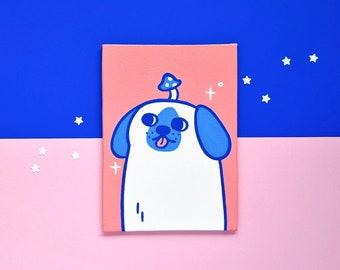 Original acrylic painting - Mushroom Dog - posca original art - cute dog painting - original artwork - dog illustration - dog art